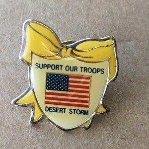 Support Our Troops Desert Storm Yellow Ribbon Pin